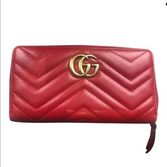 Gucci Handbags - Gucci Red Marmont new around soft wallet
